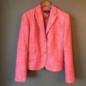 Talbots Tweed Blazer Jacket Pink Linen Blend